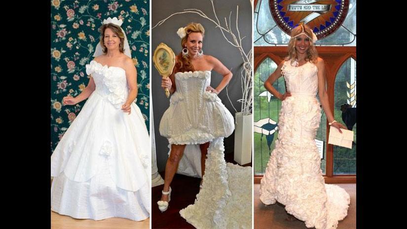 vestidos de novia confeccionados con papel higiénico   rpp noticias