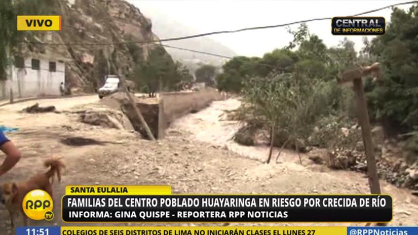 Familias del centro poblado de Huayaringa en riesgo por crecida del río