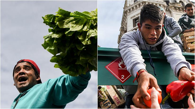 Agricultores argentinos protestaron regalando verduras
