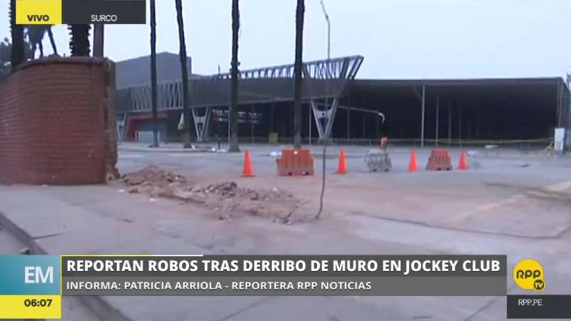 Denuncian robos en el Jockey Club tras el derribo del muro perimétrico