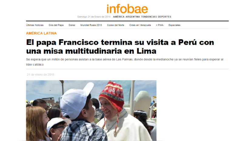 Así informó la prensa extranjera la visita del Papa en el Perú