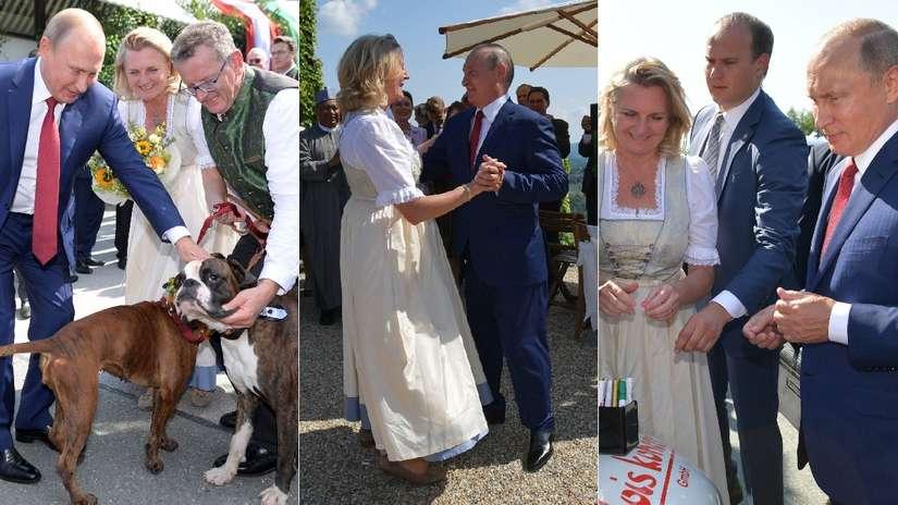Vladímir Putin apareció en la boda de una ministra de Austria y desató una polémica