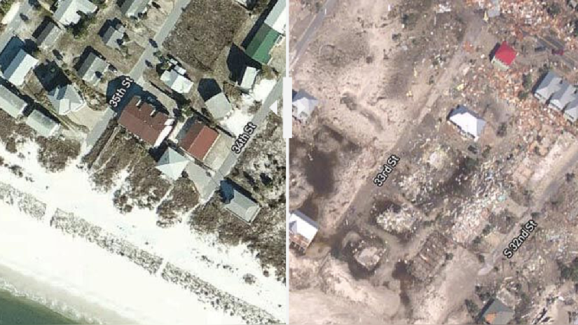 El antes y después de Michael: fotos satelitales revelan la magnitud de la destrucción en Florida