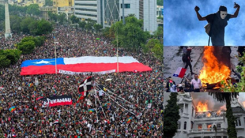 Ira social incontrolable: 20 imágenes de las protestas que cumplen tres semanas en Chile