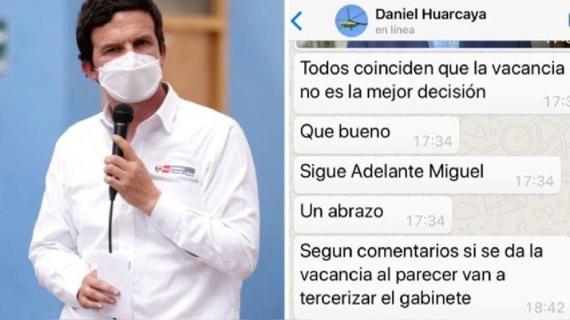 """Daniel Huarcaya sobre mensajes al ministro de Energía y Minas: """"Fueron de buena fe sin ningún ánimo intimidatorio"""""""