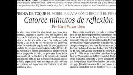 ´Catorce minutos de reflexión´ de Mario Vargas Llosa