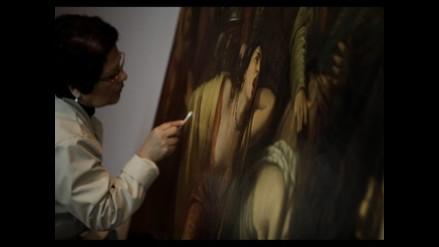 Restauran enorme pintura Funerales de Atahualpa a la vista del público