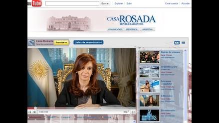 Presidenta argentina estrena canal propio en Youtube