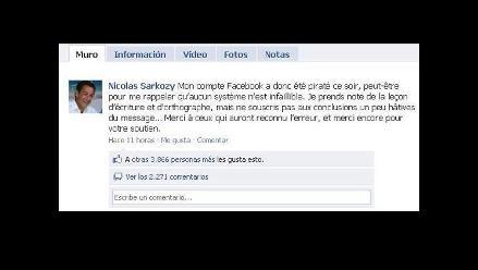 Piratas hackearon Facebook de presidente francés Nicolas Sarkozy