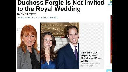 Duquesa Fergie no fue invitada a la Boda Real
