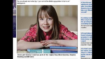 Niña británica es más inteligente que Albert Einsten, afirman