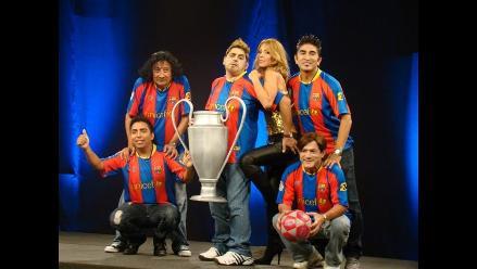 Piquete y Chakira celebran título del Barcelona en Estelar del Humor