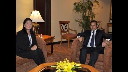 Keiko Fujimori saludó a Ollanta Humala en el hotel Los Delfines