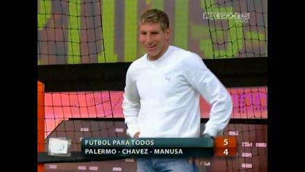 Martín Palermo juega partido de fútbol tenis antes de su retiro