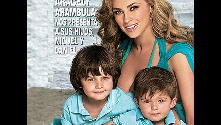 Aracely Arámbula posa para una revista con sus dos preciosos hijos