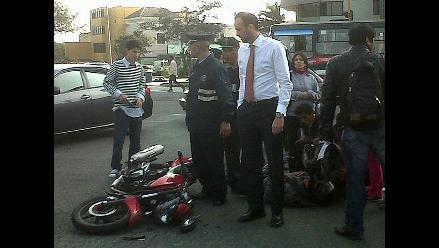 Atropellan a motociclista en avenida Arequipa