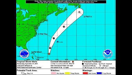 Tormenta ´María´ se convierte en huracán en su ruta hacia Terranova