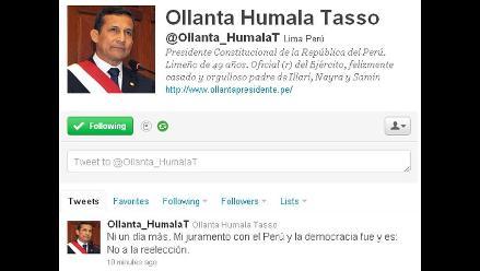 Presidente Ollanta Humala enfatiza que no irá a la reelección