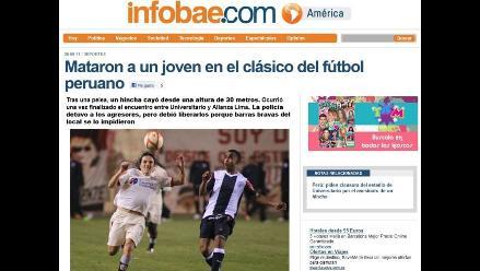 Así informa la prensa internacional tragedia en el estadio Monumental