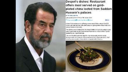 Restaurante ofrece menú especial sobre vajilla que fue de Sadam Husein