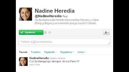 Nadine Heredia: ´Con la blanquirroja siempre. ¡Arriba Perú!´