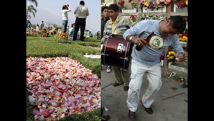 Con flores, bailes, música y cerveza, limeños recordaron a sus difuntos