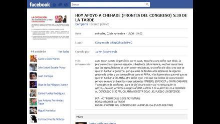 Chehade recibe apoyo de internautas en Facebook