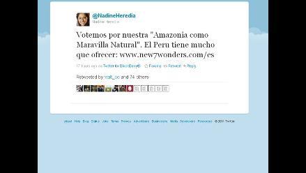 Nadine Heredia pide votar para que el Amazonas sea Maravilla Natural