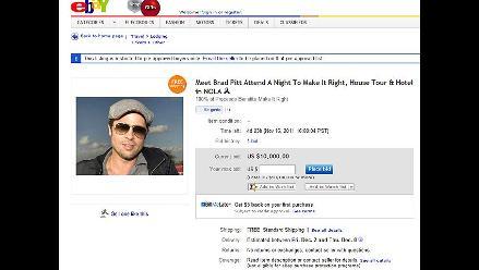Brad Pitt subasta cita por fines benéficos en eBay
