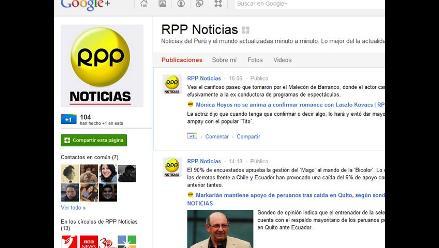 RPP Noticias ya cuenta con página propia en Google Plus