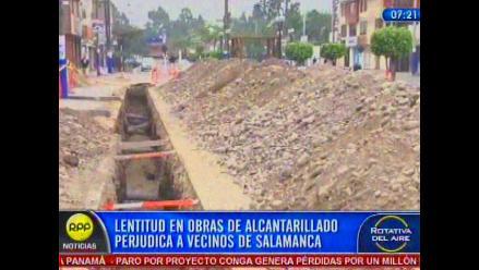 Vecinos piden a Sedapal agilizar obras en Salamanca