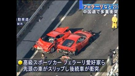 Catorce autos de lujo implicados en accidente de tránsito en Japón