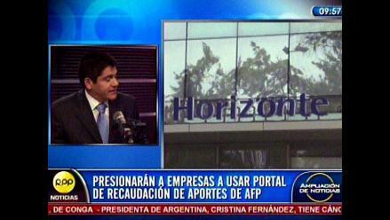 Empresas usarán portal de recaudación de aportes previsionales de las AFP