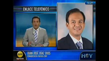 Congresista Juan Díaz Dios pedirá vacancia de Gregorio Santos