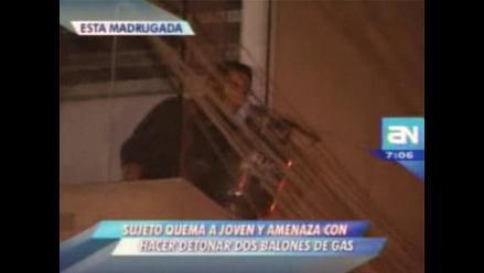 Quemó a joven y quiso estallar edificio con balones de gas en Zárate
