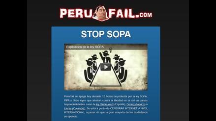 Páginas web peruanas se unen al apagón y protestan contra ley SOPA