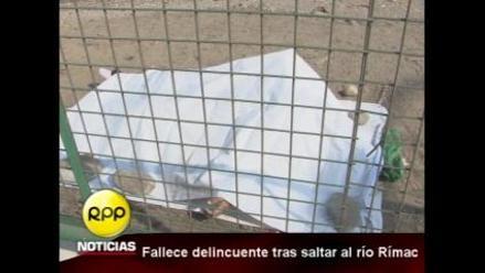 Delincuente murió tras saltar al río Rimac para huir de la policía