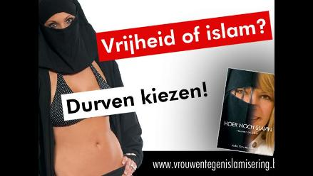 Lanza campaña contra Islam con afiche de su hija usando bikini y burka