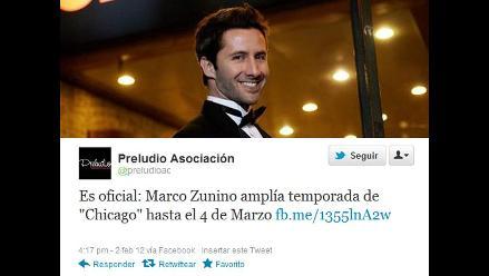 Marco Zunino continuará temporada de ´Chicago´ hasta el 4 de marzo