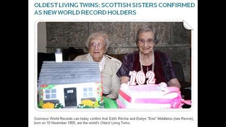 Gemelas más longevas del mundo tienen 102 años y viven en Escocia