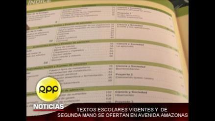 Textos escolares vigentes de segunda mano se ofertan en avenida Amazonas