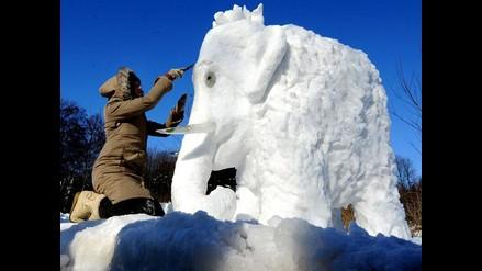 Esculturas gigantes de nieve y hielo invaden jardín botánico