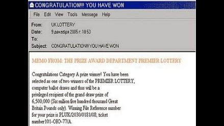 Correos de falsas loterías en línea son responsables del 3% de spam