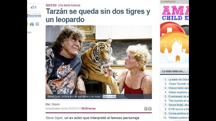 Decomisan dos tigres y un leopardo a actor que representó a Tarzán