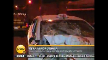 Accidente vehicular deja dos personas heridas en Carretera Central