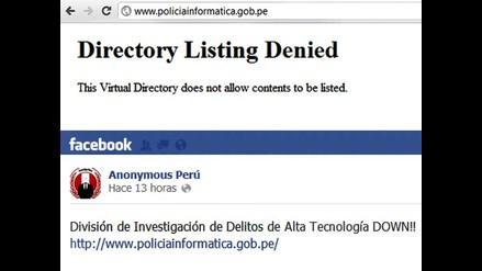 Anonymous Perú se atribuye caída de página web de Policía Informática