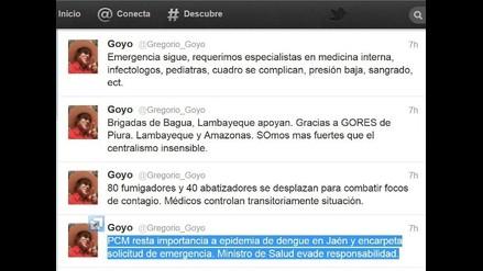Gregorio Santos: PCM resta importancia a dengue en Jaén