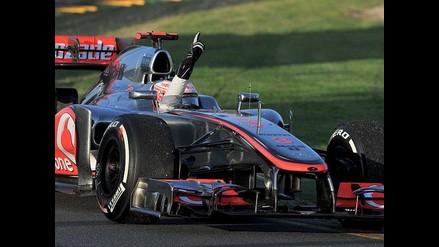 Imágenes de Jenson Button festejando su triunfo en GP de Australia
