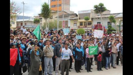 Cajamarca: Realizan movilización contra Conga en Bambamarca