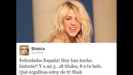 Shakira felicitó a España por su triunfo en la Eurocopa 2012